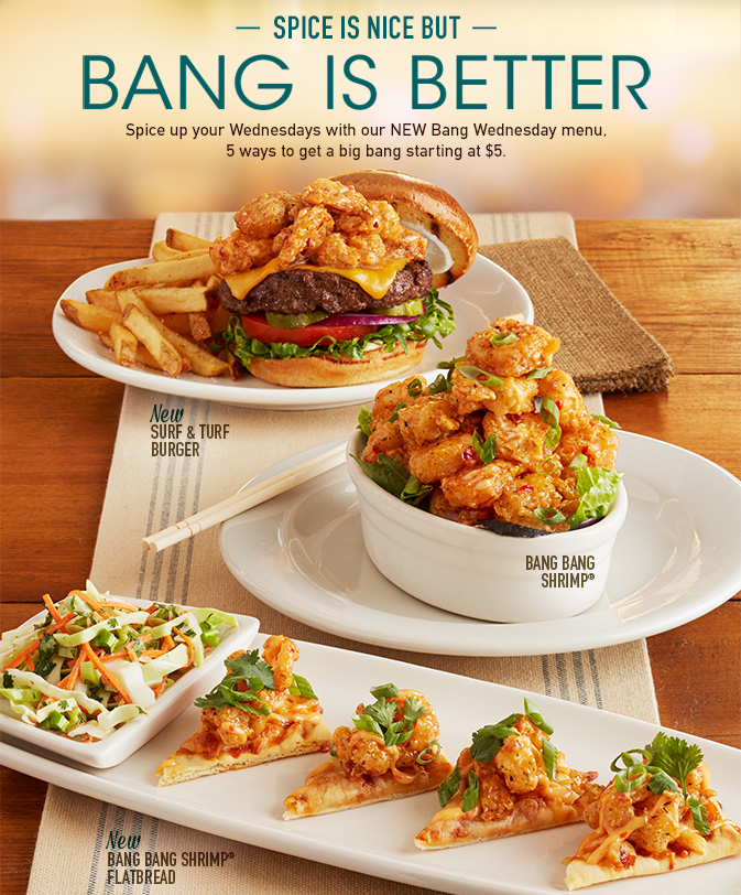 On Wednesdays, Bonefish Grill offers its signature appetizer, Bang-Bang Shrimp, for just $6 after 4 p.m. The popular appetizer is crispy shrimp tossed in a creamy, spicy sauce. This is a dine-in only deal that's available each Wednesday at Bonefish Grill. Prices, product availability, participation and hours may vary by location.