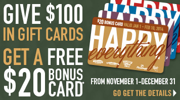 Holiday Gift Cards & Bonus Cards