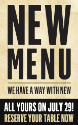 New Menu July 29th!
