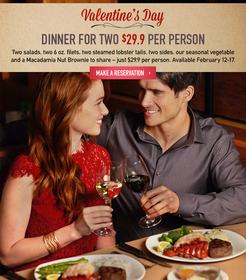 Valentine's Day Dinner for Two $29.9 per person
