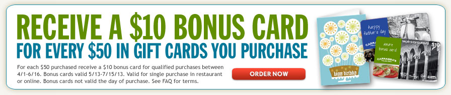 Receive a $10 Bonus Card for Every $50 in Gift Cards You Purchase