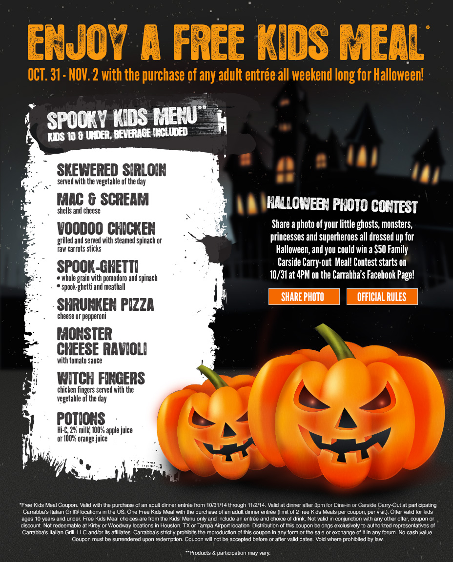 Kids Eat Free all weekend long for Halloween!