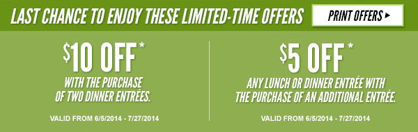 LAST CHANCE TO HURRY IN AND ENJOY THESE LIMITED-TIME OFFERS - PRINT OFFERS