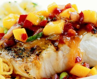 Mango, Craisins &amp; Tomato Salsa over Grouper