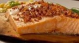 Wild Alaskan Salmon Cedar-Plank Style with Chorizo Topping