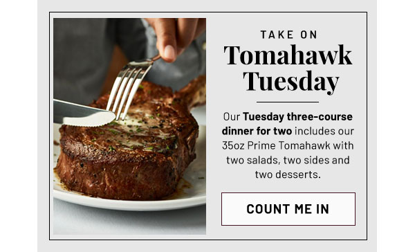 Take on Tomahawk Tuesday - Learn More