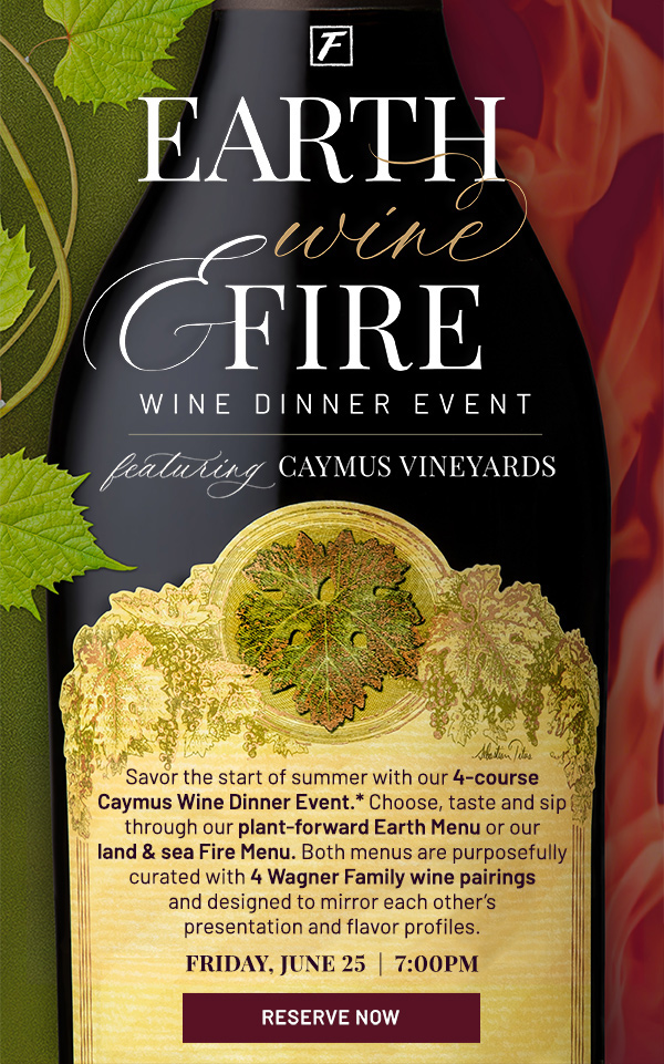 Earth, wine and fire - wine dinner event - learn more